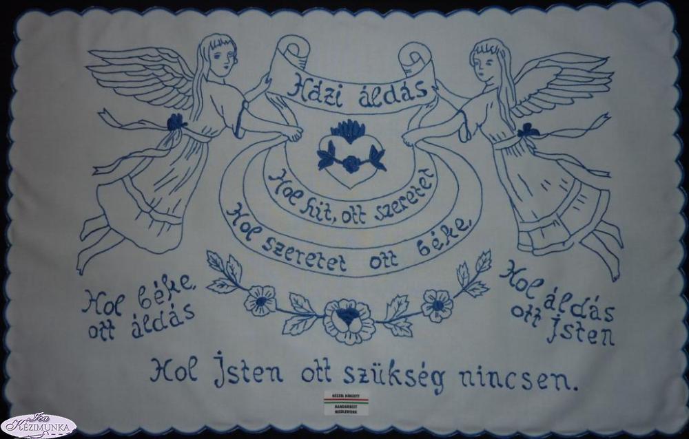 673dc69d76 Falvédő,Házi Áldás kékkel hímzett 82x52 cm | Kézimunka Webáruház